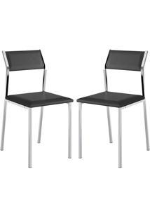 Cadeira 1709 Cromada 02 Unidades Preta Carraro