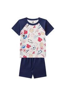 Pijama Infantil Menino Camiseta E Bermuda Estampa Divertida-2