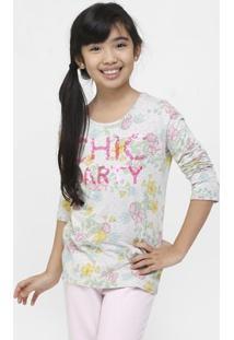 Camiseta Benetton Estampada Infantil - Feminino-Grafite