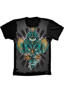 Camiseta Baby Look Lu Geek Psicodélica Preto - Tricae