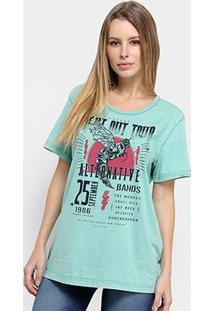 Camiseta Colcci Estampa Urbana Feminina - Feminino-Verde