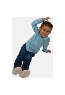 Camisa Social Infantil Olimpo Maquinetada Azul Clara