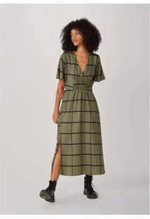 Vestido Midi Alongado Em Fio Tinto De Viscose Verd