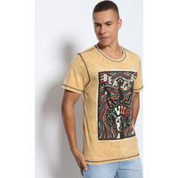 97636f971 Camiseta Dupla Face Estonada- Amarelo Escuro & Pretabeagle