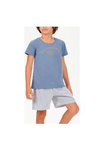 Pijama Infantil Menino Curto Cor Com Amor 66399 Azul