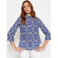 1e0e114102 Camisa Em Seda Arabescos - Azul   Off Whiteversace Collection