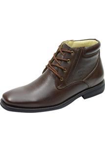Botina Conforto Atron Shoes Com Cadarço 483 Em Couro Café