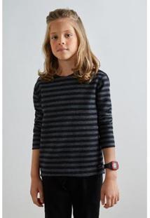 Camiseta Infantil Pf Reserva Mini Ml Dupla Face Navy Masculina - Masculino-Preto