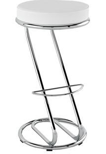 Banqueta Alta Pb15 S/Encosto Assento Branco - Pozza