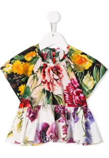 Dolce & Gabbana Kids Blusa Flare Com Estampa Floral - Verde