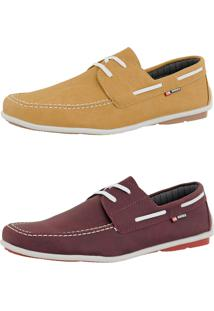 d6c5ff1ad82 Kit Dockside Cr Shoes Lançamento Bordô E Amarelo