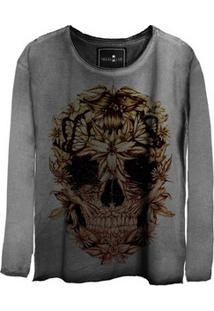 Camiseta Feminina Estonada Manga Longa Skull Beautiful
