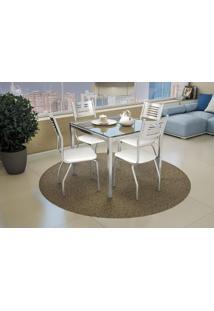 Conjunto De Mesa E Cadeiras Crome Cromado Com Tecido Branco Kappesberg