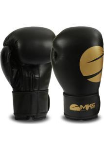 58b84f42923 Luva Mks Combat Champions Boxe Muay Thai Kickboxing Gold Preta Dourada