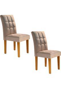 Conjunto Com 2 Cadeiras Vitória I Ypê E Caramelo