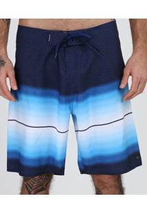 Bermuda Masculina Tradicional Degradê Com Bolsos Azul