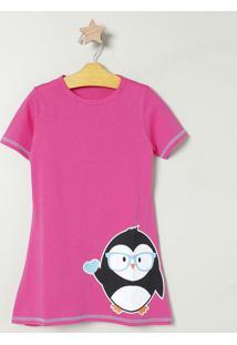 Camisola Pinguim Com Pespontos - Pink & Pretapuket