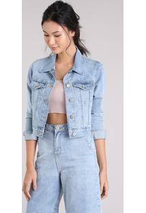 92103c71f Jaqueta Jeans Feminina Cropped Com Bolsos Azul Claro