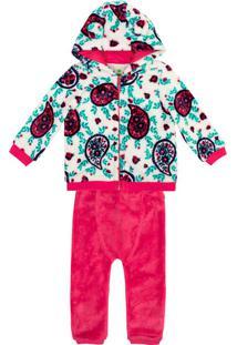 Conjunto Bebê Menina Fleece Estampado Com Capuz Puc