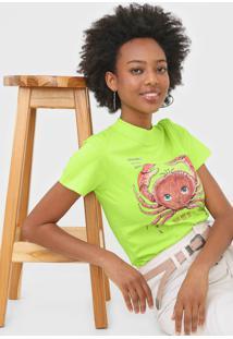 Camiseta Colcci Estampada Verde - Verde - Feminino - Algodã£O - Dafiti