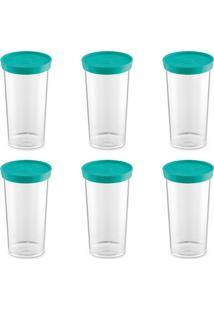 Kit Com 6 Porta Condimentos Plus I Verde-Água