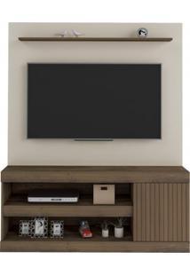 Estante Home Para Tv Até 60 Polegadas 1 Porta Capri Artely Off White/Pinho Ripado
