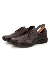 Sapato Conforto Cadarço Em Couro Palmilha Gel Br2 Footwear Marrom