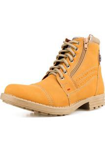 Bota Casual Way Boots Confortavel Com Fecho E Cadarço Leve Macia Amarelo