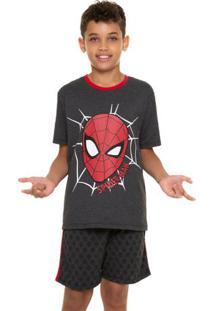 Pijama Curto Juvenil Menino Homem-Aranha