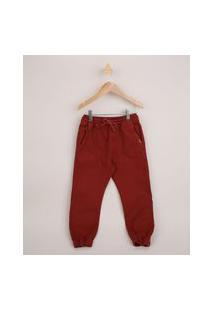 Calça De Sarja Infantil Jogger Com Cordão Vermelha