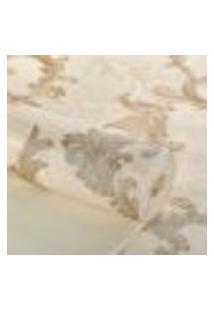 Papel De Parede Importado Texturizado Bege Arabesco Dourado