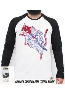 Gato Samurai - Camiseta Raglan Manga Longa Masculina