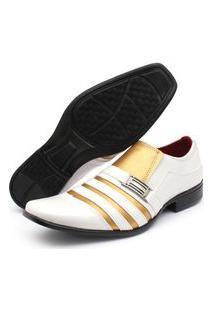 Sapato Social Verniz Renovally Branco E Dourado