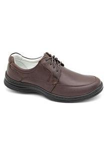 Sapato Social Masculino Couro Palmilha Gel Conforto Trabalho Preto 39 Marrom