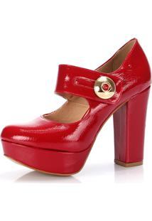 1e7c22b9c Sapato Boneca New Elegance Verniz Vermelho Meia Pata E Salto Grosso