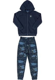 Conjunto Infantil Militar Em Moletom Azul