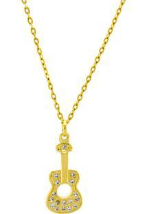 Gargantilha Horus Import Violão Pedras Zircônia Banhada Ouro Amarelo 18 K - 1061164
