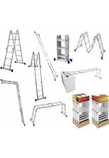 Escada Articulada Em Alumínio 4X3 Com 12 Degraus Cromada E Azul