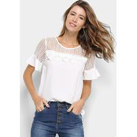 f033c67823 Blusa Ms Fashion Transparência Renda Feminina - Feminino-Branco