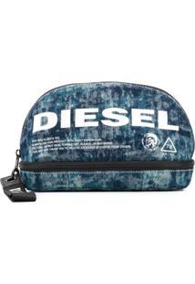 Diesel Necessaire Com Logo Estampado - Azul