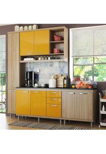 Cozinha Compacta 8 Portas Sicília Com Tampo 5813 Amarelo/Argila - Multimóveis