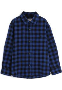 Camisa Reserva Mini Menino Xadrez Azul-Marinho