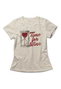 Camiseta Feminina Time For Wine Bege