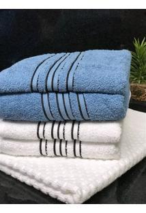 Jogo 5 Peças Toalhas Banho, Rosto E Piso Fj4181 - Branco E Azul