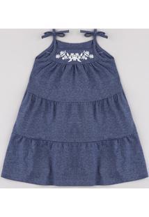 Vestido Infantil Com Recorte E Bordado Floral Alça Fina Azul