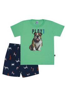 Pijama Meia Malha - 46560-67 - (4 A 10 Anos) Pijama Verde - Infantil Menino Meia Malha Ref:46560-67-10