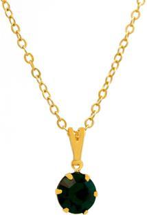 Gargantilha Horus Import Ponto Luz Banhado Ouro Amarelo 18 K - 1060153 - Verde Esmeralda