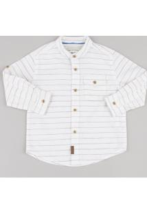 Camisa Infantil Listrada Com Bolso Manga Longa Gola Padre Off White