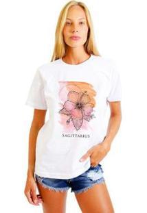 Camiseta Joss Feminina Estampada Signo Sagittarius - Feminino-Branco