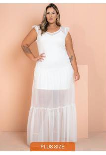 Vestido Longo Tule Eloah Off White